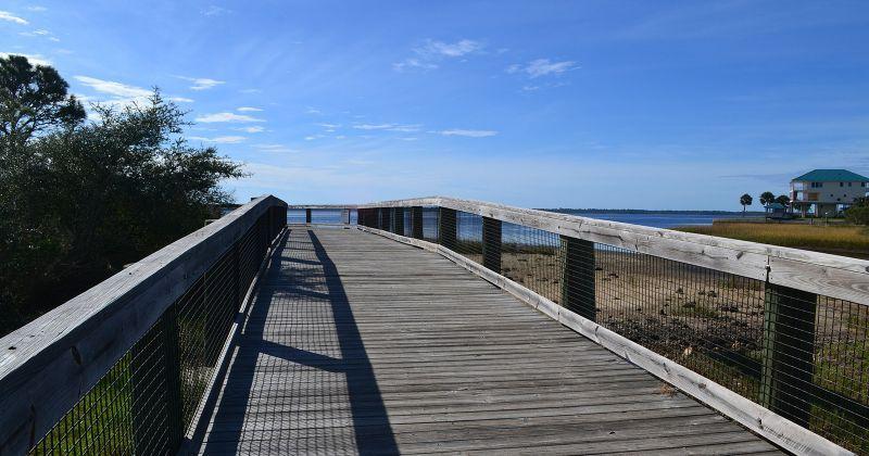 Mashes Sands Fishing Pier boardwalk along Ochlockonee Bay