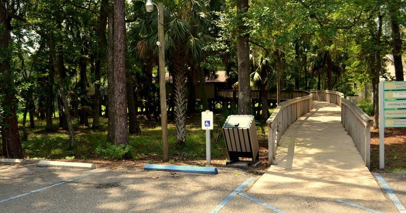 Parking and boardwalk entrance to Visitors Center at St. Marks National Wildlife Refuge