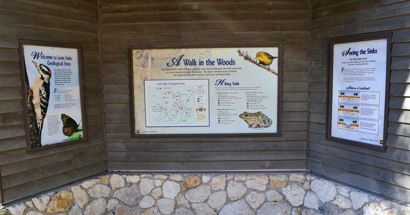 interpretive kiosk at Leon Sinks Geological Area