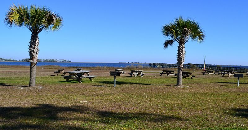 Picnic and grill area at Woolley Park on Dickerson Bay, Panacea