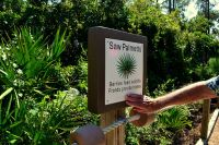 Informative accessible trail along headquarter's pond - St. Marks National Wildlife Refuge