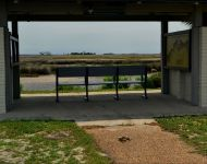 St. Marks National Wildlife Refuge - seating area with marsh view at lighthouse