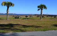Picnic and grill area at Woolley park in Panacea
