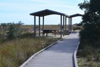 Access boardwalk from parking lot, Northend fishing pier at Bald Point State Park