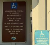 Dr. Julian G. Bruce St. George Island State Park - entrance sign detailing accessible amenities